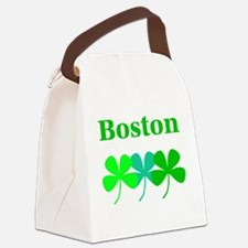 I Love Boston Green Hues Clovers Canvas Lunch Bag