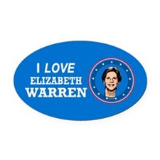 I Love Elizabeth Warren Oval Car Magnet