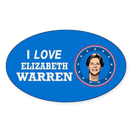 I Love Elizabeth Warren Sticker (Oval)