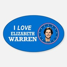 I Love Elizabeth Warren Sticker (Oval)
