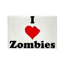 I Love Zombies Rectangle Magnet