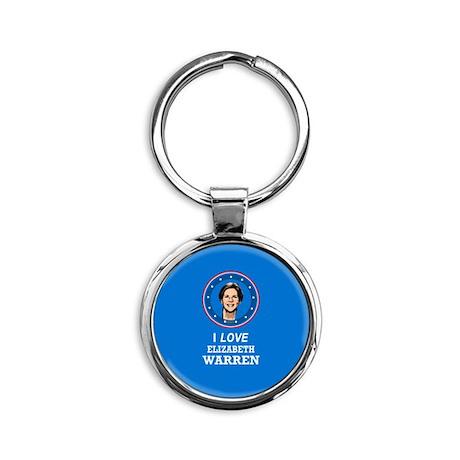 I Love Elizabeth Warren Round Keychain