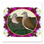 """Dove Nest and Flowers Square Car Magnet 3"""" x"""