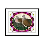 Dove Nest and Flowers Framed Panel Print