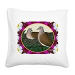 Dove Nest and Flowers Square Canvas Pillow