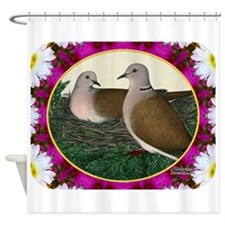 Dove Nest and Flowers Shower Curtain