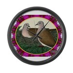 Dove Nest and Flowers Large Wall Clock