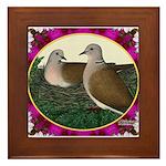 Dove Nest and Flowers Framed Tile