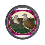 Dove Nest and Flowers Wall Clock