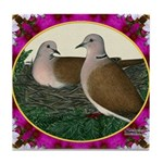 Dove Nest and Flowers Tile Coaster