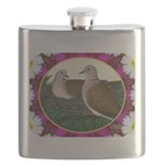 Dove Nest and Flowers Flask
