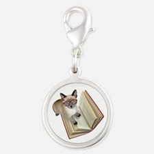 Kitten Reading Book Charms