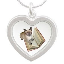 Kitten Reading Book Necklaces