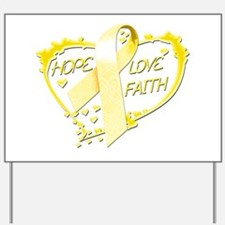 Hope Love Faith Heart (Yellow) Yard Sign