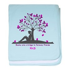 Books are a Bridge Pink/Purple baby blanket