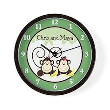Chris and Maya Twin Monkey Clock Wall Clock