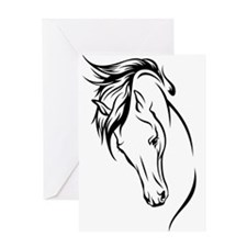 Line Drawn Horse Head Greeting Card