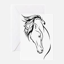 Line Drawn Horse Head Greeting Card
