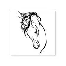 "Line Drawn Horse Head Square Sticker 3"" x 3"""
