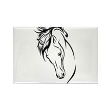Line Drawn Horse Head Rectangle Magnet