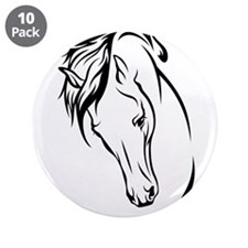 "Line Drawn Horse Head 3.5"" Button (10 pack)"