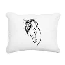 Line Drawn Horse Head Rectangular Canvas Pillow