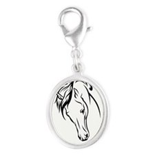 Line Drawn Horse Head Silver Oval Charm