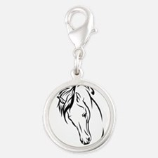 Line Drawn Horse Head Silver Round Charm