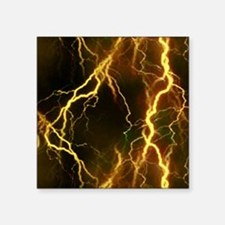 "Gold Lightning Look Square Sticker 3"" x 3"""