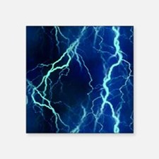 "Cyan Lightning Look Square Sticker 3"" x 3"""
