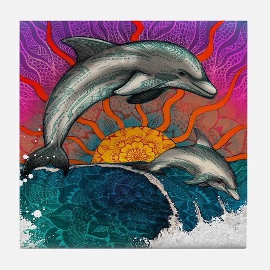 Dolphin Wave Tile Coaster