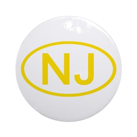NJ Oval - New Jersey Ornament (Round)