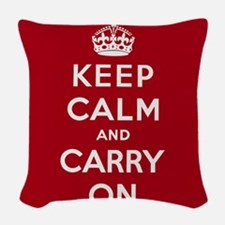 Keep Calm And Carry On Woven Throw Pillow