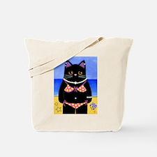 Black CAT Beach Babe ART Tote Bag