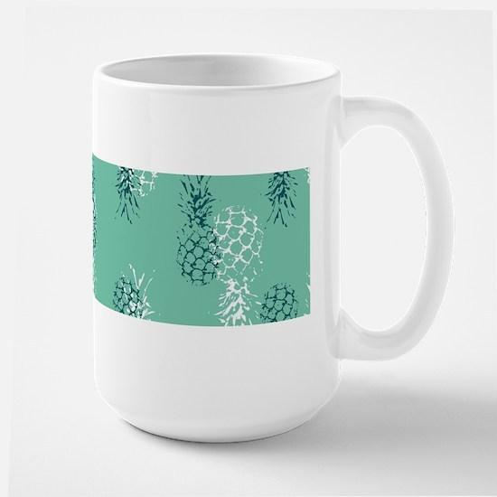Tropical Pineapple on Aqua Large Mug