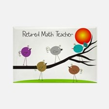 retired Math teacher retro birds Rectangle Magnet