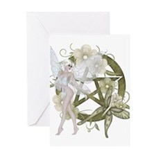 Beautiful fairy with pentacle Greeting Card