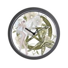 Beautiful fairy with pentacle Wall Clock