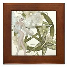 Beautiful fairy with pentacle Framed Tile