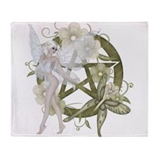 Beautiful fairy with pentacle Throw Blanket