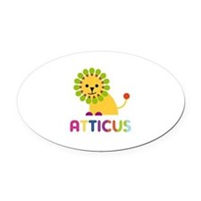 Atticus Loves Lions Oval Car Magnet