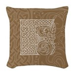 Celtic Letter F Woven Throw Pillow