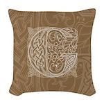 Celtic Letter G Woven Throw Pillow