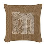 Celtic Letter M Woven Throw Pillow