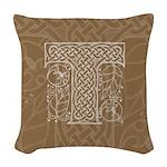 Celtic Letter T Woven Throw Pillow