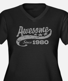 Awesome Since 1980 Women's Plus Size V-Neck Dark T