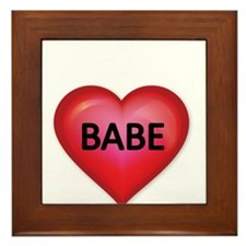Red heart with BABE Framed Tile