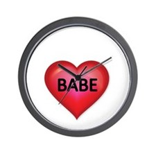 Red heart with BABE Wall Clock