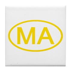 MA Oval - Massachusetts Tile Coaster