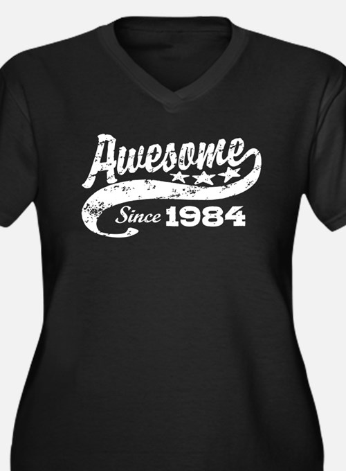 Awesome Since 1984 Women's Plus Size V-Neck Dark T